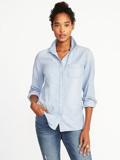 $27 (wait for 40-50% off sale). Size S. Classic Chambray Shirt for Women