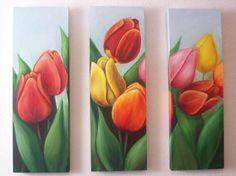 Tríptico tulipanes - Peinture,  75x90 cm ©2009 par C Ceballos -            paintings tulips tulipanes peinture pintura