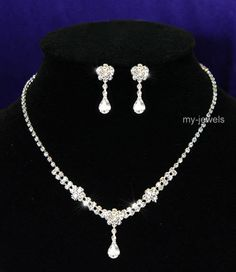 Bridal Dangle Clear Crystal Necklace Earrings Set S1054