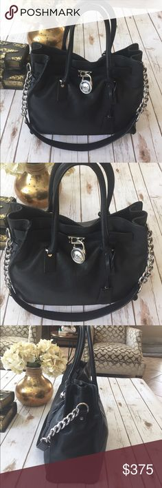 "MICHAEL KORS HAMILTON SATCHEL MK Hamilton, this is the largest size of the Hamilton bags 14"" W x  13"" H x 6"" D. Only used twice. Excellent used condition inside & out. Black with silver hardware. Price is firm Michael Kors Bags Satchels"
