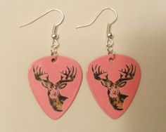 Light Pink Camo Deer Head Guitar Pick earrings Country Jewelry. $6.00, via Etsy.