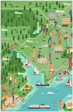 A series of editorial illustrations by studio MUTI for Monocle 78 - Oslo feature. MUTI, a Cape Town, South Africa based creative studio has created two Flat Illustration, Graphic Design Illustration, Map Diagram, Mapping Diagram, Monocle Magazine, Map Layout, Country Maps, Map Design, Environmental Art