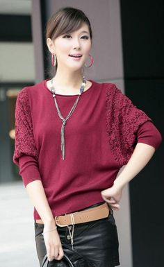 Fashion Lace Dolman Sleeve Loose Crochet Pullover Sweater from BuyTrends.com