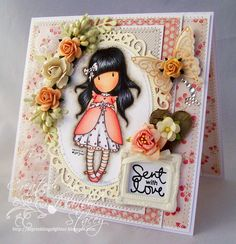 Gorjuss Ladybird surrounded by intricate embellishments ~ by Mandy at A Sprinkling of Glitter. I have this stamp and am so inspired! Prima Paper Dolls, Vintage Paper Dolls, Kids Stamps, Craftwork Cards, Paint Cards, Tampons, Pretty Cards, Copics, Cool Cards
