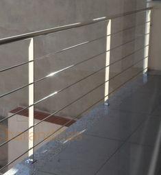Barandilla en acero inoxidable AISI-304. Montantes de 40x10, pasamano de Ø42 y varilla de Ø10.  http://www.barandillasprecios.com/barandillas/barandillas-exteriores/inox2013-01-04-09-32-51/inox-i3-detail