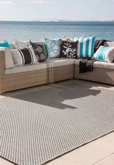OUTDOOR RUG 'FLAX' - ZINC (large) | Lounge Around Outdoor Sectional Sofa, Outdoor Rugs, Bar Table Sets, Outdoor Decor, Rugs, Double Sofas, Lounge, Sofa Set, Glass Round Dining Table