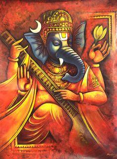 Ganesha by Madhusudhan Ganesha Drawing, Lord Ganesha Paintings, Ganesha Art, Krishna Art, Om Namah Shivaya, Om Gam Ganapataye Namaha, Ganesh Lord, Sri Ganesh, Indian Art Paintings