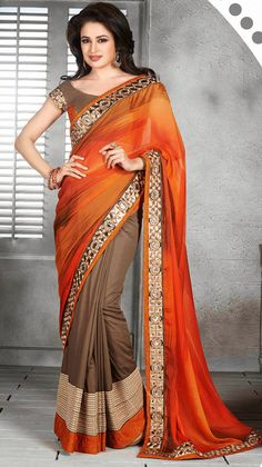 USD 67.54 Orange Silk Party Wear Saree 44758