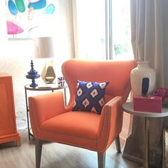 #crlaine Gustav #chair in fabric Sheer Genius Tangerine now on the floor at our #RetailPartner @theblueoctagon - #madeintheUSA #StyleComfortColor #We❤️OurRetailPartners #BuyLocal
