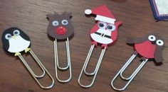 Paper Punch Art Ideas | Christmas craft fair - punch art paper clips | Craft Fair Ideas - I like this idea also for using as toppers on gift tags or bags of things for sale. Love the Santa Owl!