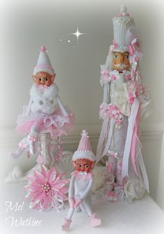 My vintage white and pink elves with my nutcracker from Olivia <3 xo