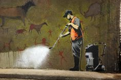 The latest work by mysterious street artist Banksy revealed at Leake Street, London this weekend. See the Banksy tag bottom right of the cave. The CCTV cameras above this were wrapped in grey poly bags to protect them from overspray!  Created May 2008 but painted over by August 2008.