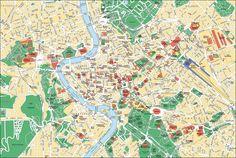 Plano turistico de museos, lugares, atracciones, sitios y monumentos de Roma