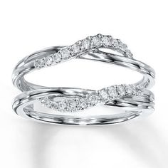 Wave Stylle White Gold Solitaire Enhancer 1/5ct Diamonds Ring Guard Wrap Jacket #WithDiamonds