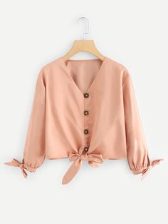 Cute Plain Asymmetrical Shirt Regular Fit V neck Long Sleeve Placket Pink Crop Length Knot Hem Solid Blouse Hijab Fashion, Fashion News, Girl Fashion, Fashion Dresses, Casual Skirt Outfits, Cute Outfits, Blouse Styles, Blouse Designs, Spring Shirts