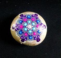 Hand Painted Beach Stone ~ Turquoise & Purple Dot Art Painted Rock ~ Original Home decor Ornament ~ Mandala Flower by P4MirandaPitrone on Etsy