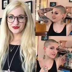 WEBSTA @ cheveux_o_holic - @Regrann from @theshorthairclub - @daisylola shaved off her fabulous long hair and looks easily the most gorgeous buzzed chick ever, her reaction alone shows how liberating being bald truly is! Let's hope she stays buzzed #Regrann #cheveuxoholic #cheveux_o_holic