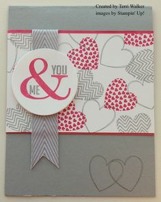 handmade Valentine card ... Hearts a Flutter U & Me .... pink and gray with white ... like the background design made with heart stamps ... Stampin' Up!