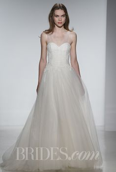 """Brides: Christos - Spring 2014. """"Lavinia"""" ball gown with tulle shirred V-neck and hand appliqu�d French lace, Christos"""