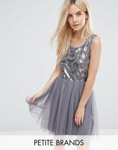Boohoo Petite Sequin Bodice Tulle Skirt Dress