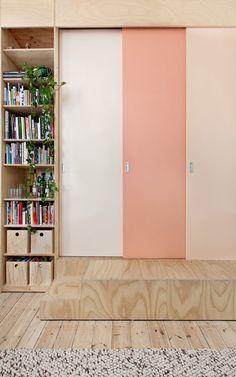 Clare Cousins Architects   Flinders Lane Apartment; 75sqm renovation, plywood, sliding screens #colour
