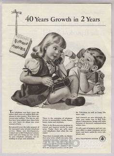 Bell Telephone '40s Print Ad Children Phone Vintage Advertisement Boy Girl 1948 #BellTelephone #PrintAds #Advertising