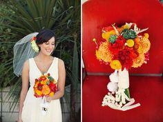 red and orange bouquet [dahlias, craspedia, succulents, astilbe, ranunculus...] for olga?
