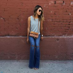 70s vibe wearing @paigedenim jeans and tank  / More on sincerelyjules.com #liveinit by sincerelyjules