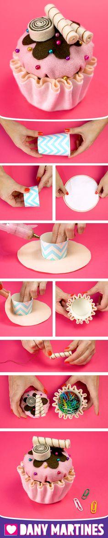 Faça você mesmo um Cupcake porta clips, Kawaii, decoração, fofinho, fácil de fazer, DIY, Do It Yourself, Dany Martines