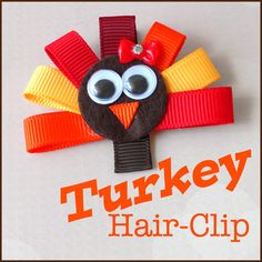"""It's """"Gobble-Time"""" with this super-duper cute Thanksgiving turkey ribbon sculpture hair-clip!  Join Danielle on the craft blog where she offers free instructions on how to make your own DIY turkey hair accessory for your little girl."""