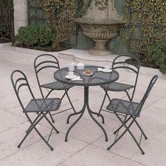 sedia per esterno in metallo fancy leaf 1   tavoli e sedie da ... - Metallo Patio Tavolo E Sedie Rotondo