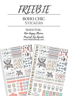 Free Printable Boho Chic Planner Stickers {sized for the Mini Happy Planner} from Malena Haas