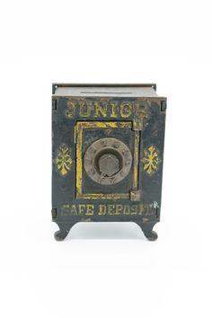 Antique Original 1900's Junior Safe Deposit Cast Iron Bank