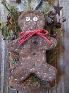 Sweet Primitive Gingerbread Man On Rusty Old Kitchen Grater - Winter and/or Christmas Decoration