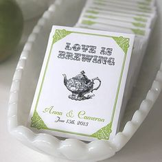Bridal Shower Favors   LOVE IS BREWING Tea Favors by BushelandPeckPaper on Etsy, $20.00 #BridalShowerFavors