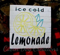 Ice Cold Lemonade Farmhouse Sign - Retro or Vintage Farmers Market Sign or Grocery Sign Country Signs, Rustic Signs, Wood Signs, Lemonade Sign, Farmers Market Sign, Handmade Signs, Handmade Items, Handmade Wooden, Home Improvement Show