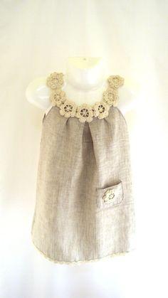 Linen organic flower dress / tunic crochet /