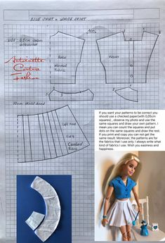 Fashion Dolls Couture - Unlimited: Blue Shirt White Skirt - Made to Move Barbie - Sewing Barbie Clothes, Barbie Sewing Patterns, Doll Dress Patterns, Clothing Patterns, Barbie Fashionista, Barbie Style, Fashion Dolls, Couture Fashion, Image Fashion