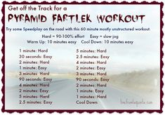 Pyramid Fartlek Workout Work it Out Wednesday: An Off the Track Speed Workout. Plus Team Eleven by Venus!