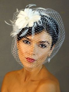 *Pearl Crystal Fascinator & Birdcage Bridal Veil 21 f55  $30   9 inches long; 13 inches wide