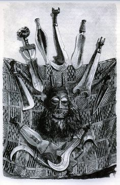 Friedrich Ratzel The history of Mankind 1898 weapons and mask mat of Upper Congo.