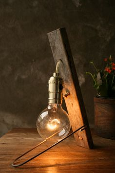 Industrial Light Wood Lamp Cool Gifts for Men by LukeLampCo, $79.00