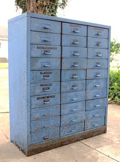 Vintage Industrial Metal Blue Cabinet with by fronterafinds