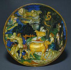 Plate, 1526  Maestro Giorgio Andreoli (Italian, 1465-70-aft 1553) tin-glazed earthenware with gold lustre (Maiolica),