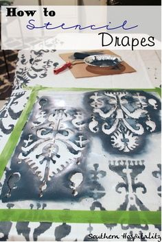 How to stencil Ikea drapes!  Lots of pics to show how I did them.