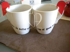 """couple mug of tea """"Life is better with a good cup of tea"""""""