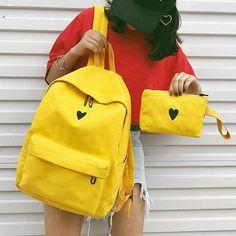 Buy Teenager Girls Cute Canvas Printed Heart Yellow Backpack Students Travel Bag Girls Bag Laptop Backpack School Shoulder Bags at Wish - Shopping Made Fun Backpack Travel Bag, Canvas Backpack, Laptop Backpack, Leather Backpack, Fashion Backpack, Cheap Backpacks, Cute Backpacks, School Backpacks, School Bags For Girls