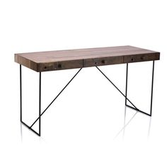 Eclectic wood desk crafted from solid Walnut with Peroba timber edge detail and steel base.