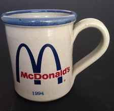 Mcdonalds Red Wing Vintage Cup Mug Stoneware 1994 Blue Advertising Pottery