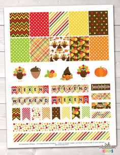 Thanksgiving Printable Planner Stickers Weekly Kit – Instant Download PDF for your Erin Condren Life Planner
